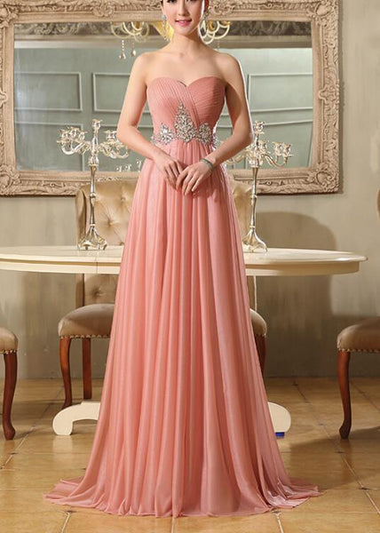 Lovely Pink Chiffon Beaded Floor Length Party Dress, Prom Dress 2019, Pink Party Gown