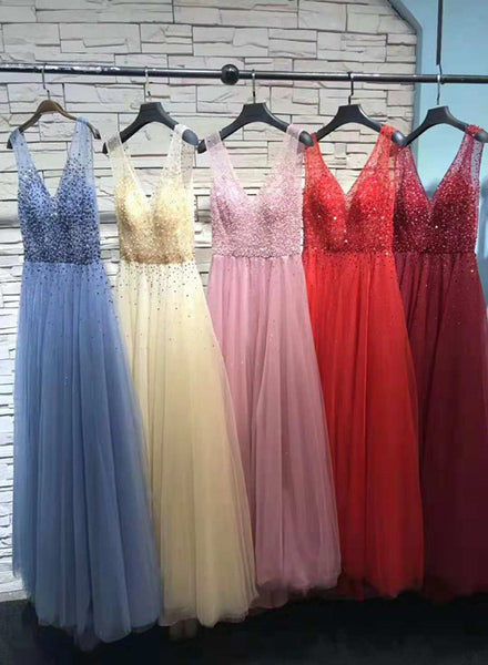 Tulle Handmade Beaded V-neckline Long Formal Gown, Tulle Prom Dress 2019