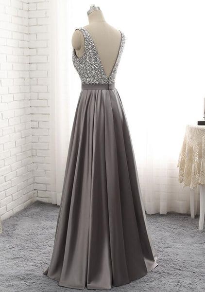 Grey Satin Long Beaded Junior Prom Dress, Beautiful Prom Gown