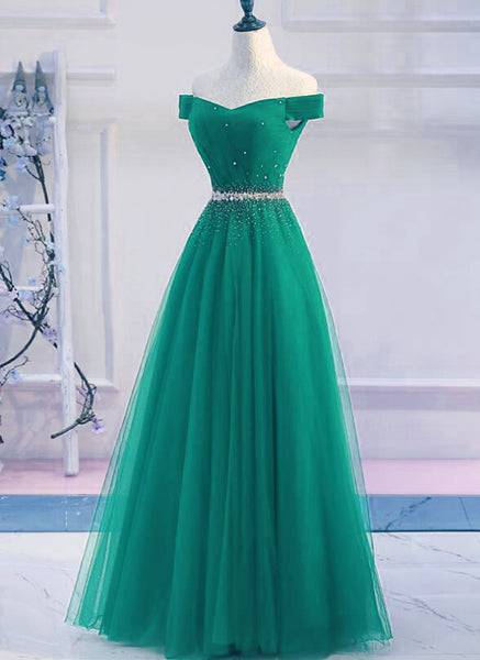 Green Tulle Off Shoulder Beaded Elegant Prom Dress 2019, Junior Party Dress