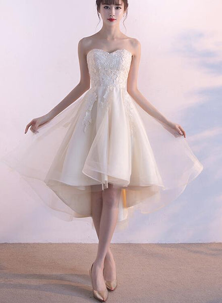 Lovely Sweetheart Champagne Tulle Party Dress, Cute Teen Junior Party Dress