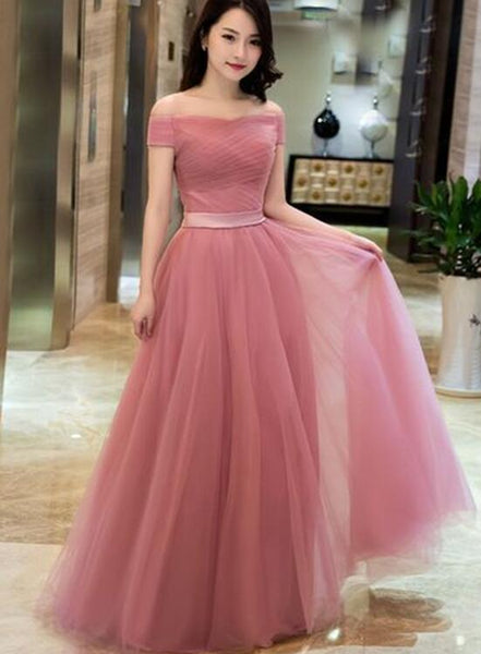 Lovely Pink Off Shoulder Tulle A-line Floor Length Formal Dress, Dark Pink Junior Prom Dress
