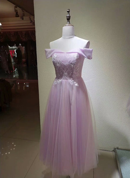 Charming Pink Tulle Vintage Party Dress,  Cute Pink Bridesmaid Dress, Tea Length Formal Dress