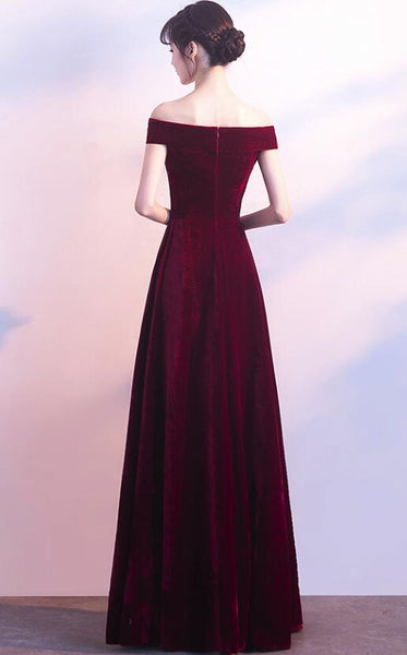 Wine Red Off Shoulder Velvet Long Wedding Party Dress, Charming Formal Gown