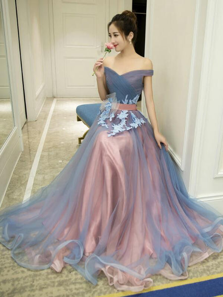 Charming Tulle Off Shoulder Sweetheart Junior Party Dress, Formal Dress with Applique