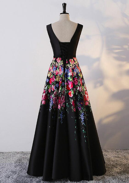 Black Floral Elegant Floor Length Party Dress 2019, Black Satin Lace-up Formal Gown