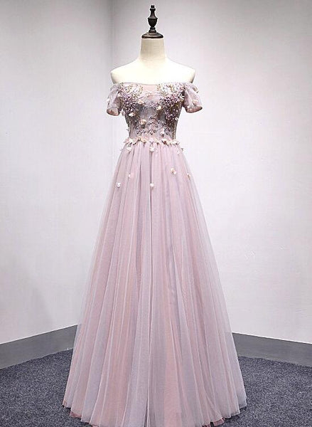 Pink Off Shoulder Short Sleeves Long Party Dress, Pink Formal Dress 2019, Junior Party Dress