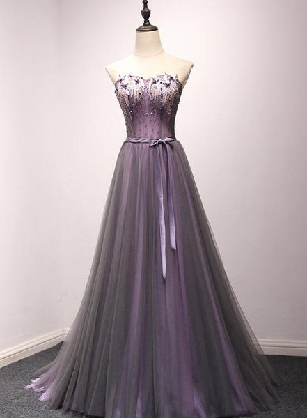 Dark Purple Long Formal Gown, Charming Tulle Elegant Party Dress 2019