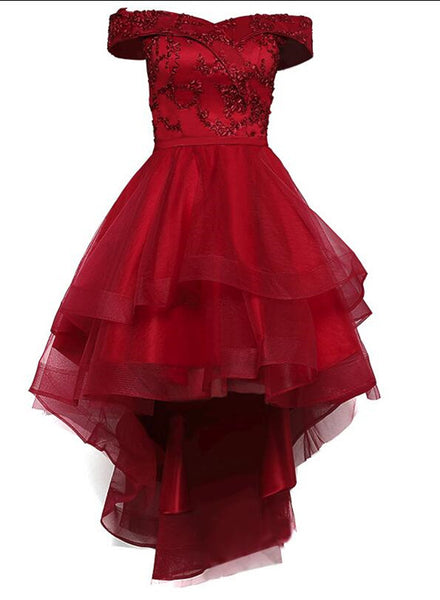 Wine Red Off Shoulder Lace High Low Lace-up Cute Formal Dress, Lovely Prom Dress 2019