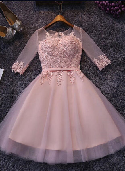 Pink Short Sleeves Tulle with Lace Applique Wedding Party Dress, Lovely Junior Prom Dress