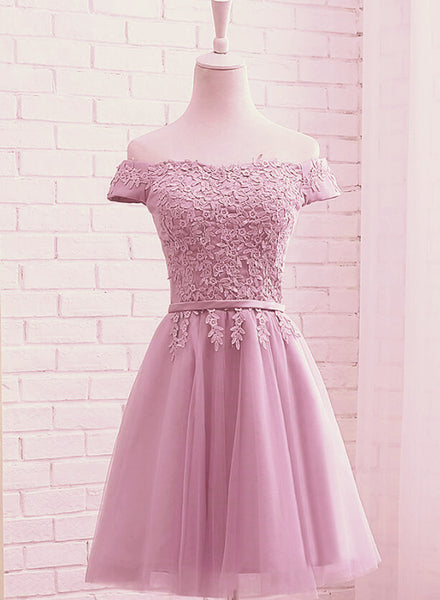 Cute Dark Pink Off Shoulder Tulle Party Dress with Lace Applique, Formal Gown 2019