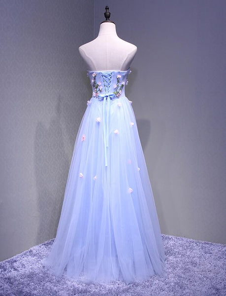 Sweetheart Light Blue Flowers Floor Length Party Dress, Charming Formal Gown 2019