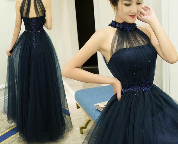 Halter Navy Blue Tulle Long Formal Dress, Pretty Formal Gown 2019