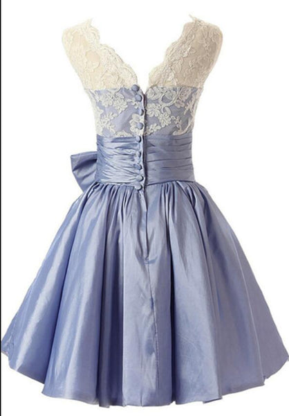 Lovely Light Blue Taffeta with Lace Applique Wedding Party Dress, Blue Bridesmaid Dress 2019