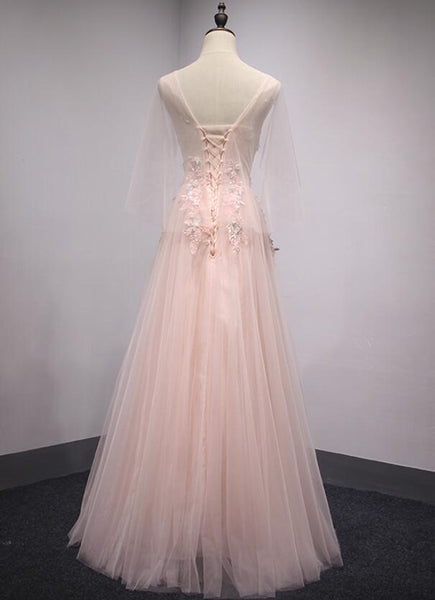 Pink Tulle V-neckline Long Party Dress, Beautiful Prom Dress, Cute Formal Gown