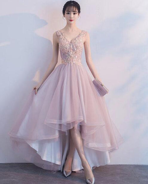 Pink V-neckline High Low Fashionable Party Dress, Pink Prom Dress 2019