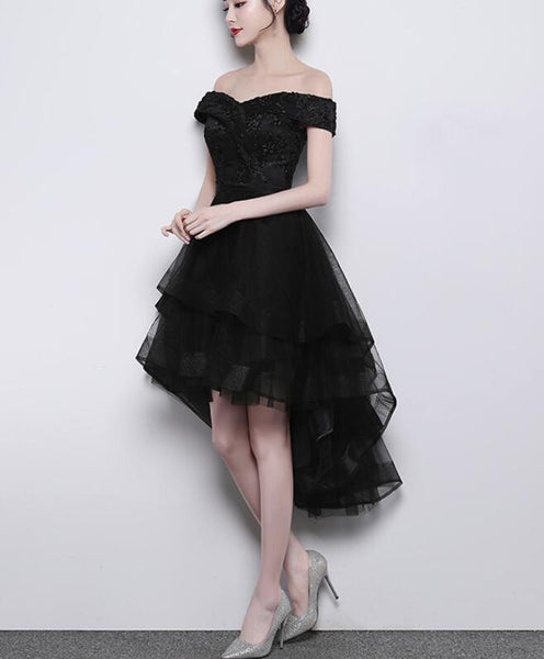Black Off Shoulder Tulle and Lace High Low Homecoming Dress 2019, Black Prom Dress