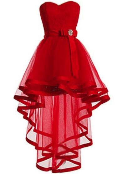 Sweetheart Red Tulle and Lace High Low Party Dress, Lace-up Formal Dress