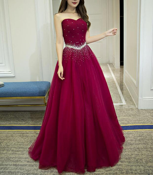 Beautiful Dark Red Tulle Sweetheart Beaded Long Formal Gown, Charming Party Dresses 2019