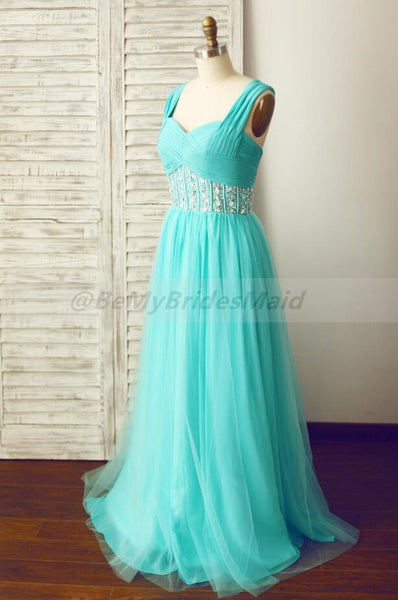 Mint Blue Chiffon and Tulle Beaded Handmade Formal Dress 2019, Prom Dresses 2019
