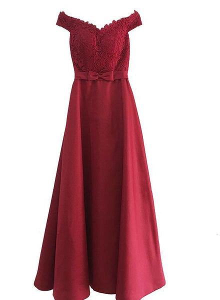 Red and Lace Satin Party Dress, Beautiful Prom Dresses 2019