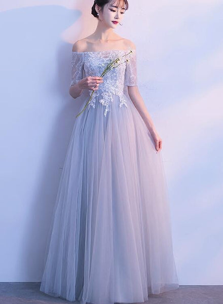 Light Grey Short Sleeves Tulle and Lace Wedding Party Dress, Cute Formal Gown 2019