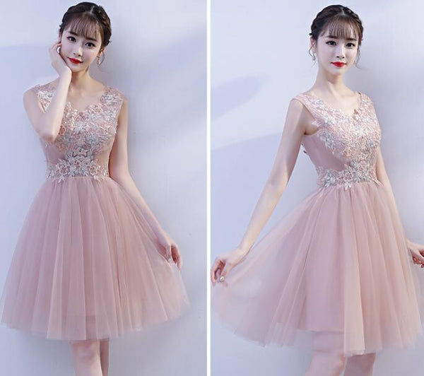 Pink V-neckline Lace Applique Knee Length Party Dress, Pink Homecoming Dresses