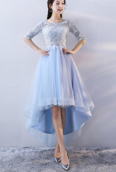Light Blue Short Sleeves Lace Applique High Low Homecoming Dresses, Light Blue Party Dresses 2019
