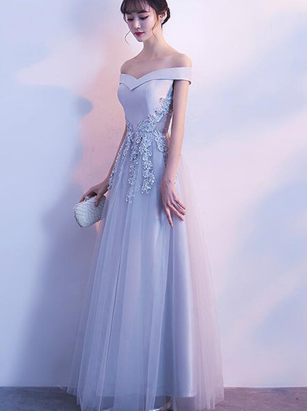 Grey Off Shoulder Satin and Tulle Long Simple Prom Dresses 2019, Beautiful Formal Dresses