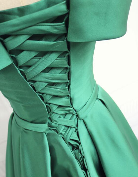Beautiful Satin Green Off Shoulder Long Formal Dress, Beautiful Party Dresses 2019