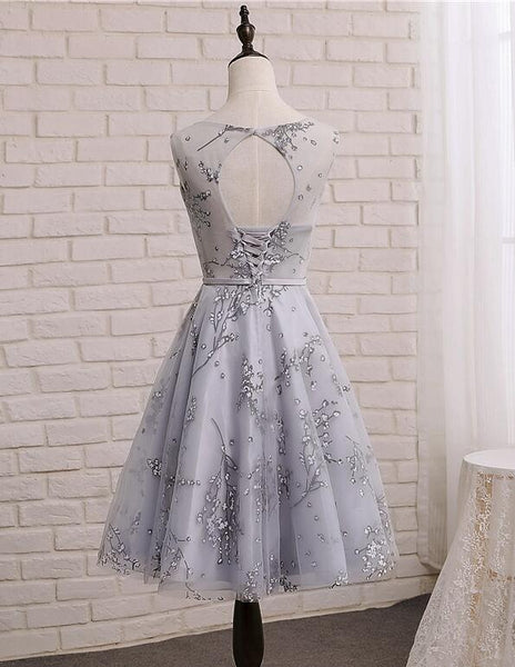Light Grey Short Tulle with Applique Party Dress, Beautiful Homecoming Dresses 2019