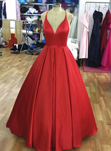 Red Satin Handmade Straps Long Formal Gown, Satin Prom Dresses 2019