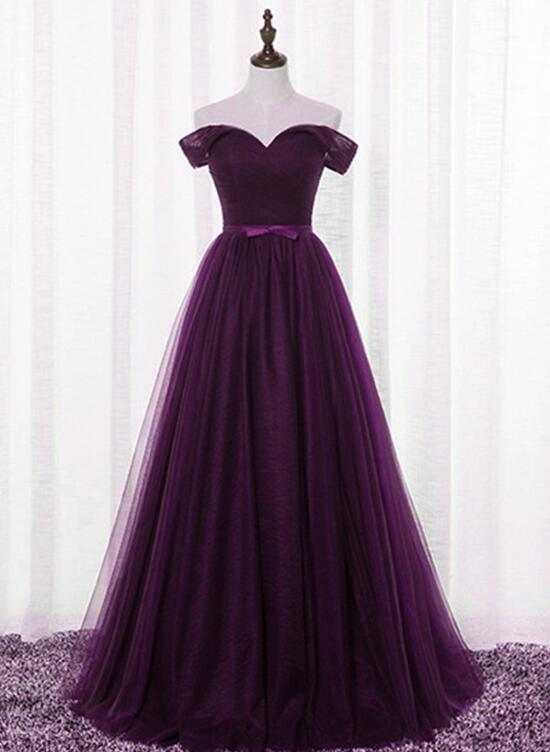 Dark Purple Tulle Off Shoulder Lace-up Formal Gown, Long ...