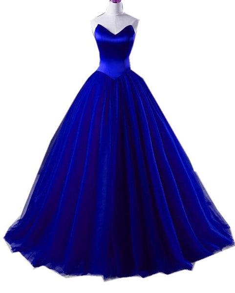 Royal Blue Satin and Tulle Ball Formal Gown, Sweet 16 Gowns, Blue Party Dresses