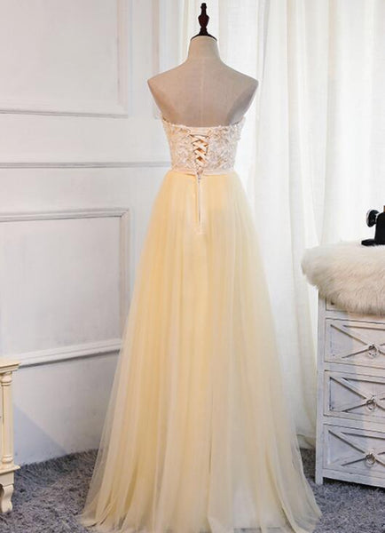 Elegant Champagne Tulle Long Sweetheart Formal Dress, Charming Party Dress 2019