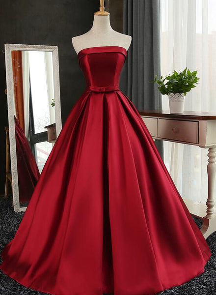 Wine Red Satin Long Formal Gown, Burgundy Sweet 16 Dresses, Cute Party Gowns