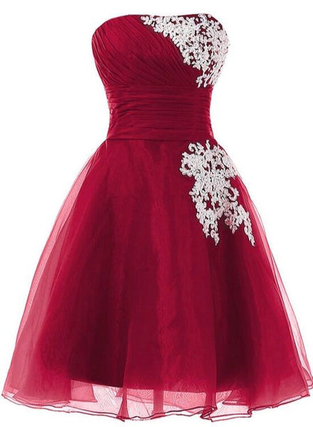 Wine Red Organza Cute Knee Length Short Senior Prom Dress 2019, Formal Dresses 2019