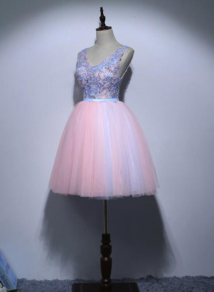 Tulle Cute Pink and Blue V-neckline Party Dresses, Homecoming Dresses 2019