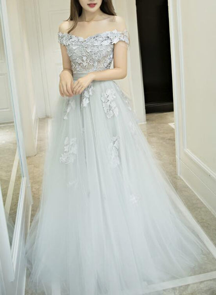 Light Grey Tulle and Lace Long Formal Gown, Off Shoulder Junior Prom Dress