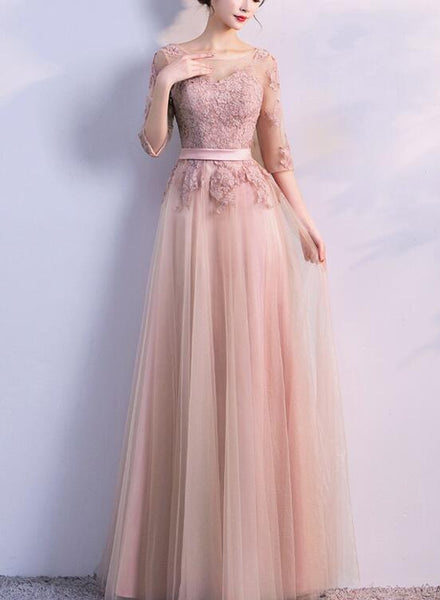 Soft Pink 1/2 Sleeves Lace Applique Long Party Dress, Cute Long Formal Gowns 2019