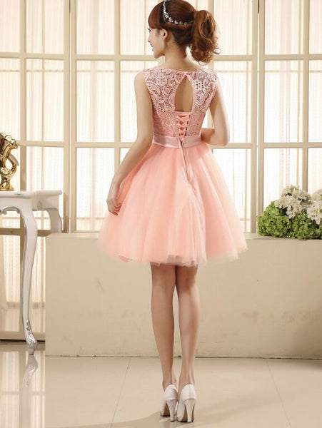 Light Pink Lovely Tulle and Lace Party Dress, Cute Teen Girls Formal Dress 2019