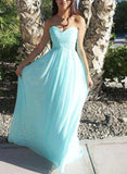 Light Blue Chiffon Handmade Simple Elegant Prom Dress, Blue Bridesmaid Dress