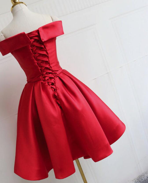 Red Satin Pretty Off Shoulder Knee Length Party Dress 2019, Pretty Party Dress 2019