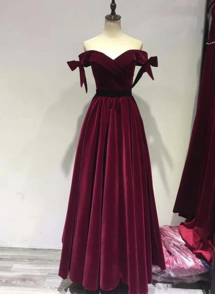 Charming Wine Red Off Shoulder Velvet Long Party Dress 2019, Junior Prom Dresses