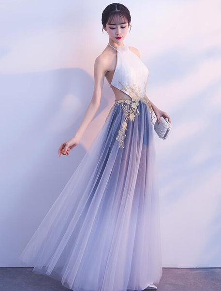 Halter Tulle Gradient Long Evening Gown with Lace Applique, Charming Formal Dress