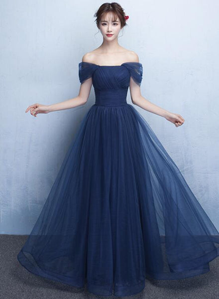 Elegant Navy Blue Floor Length Bridesmaid Dress, Simple Formal Gown 2019