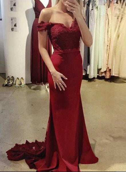 Dark Red Off Shoulder Spandex Mermaid Evening Gown with Lace Applique, Beautiful Prom Gown