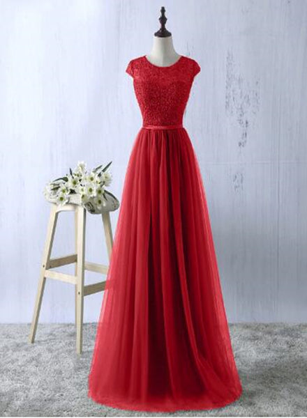 Beautiful Red Lace and Tulle Floor Length Bridesmaid Dress, Charming Formal Dress 2019