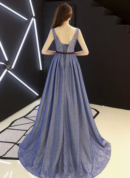 Beautiful Navy Blue Round Neckline Charming Wedding Party Dress, Lovely Formal Dress 2019