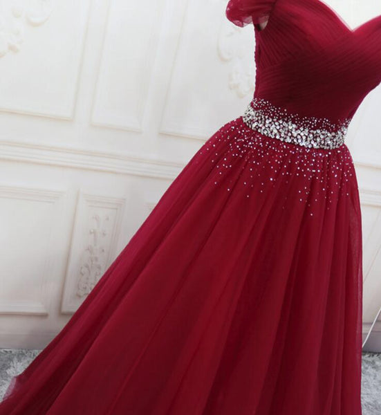 Wine Red Elegant Princess Gown, Handmade Off Shoulder Ball Gowns, Party Dress